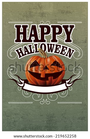 happy halloween banner with pumpkin - stock vector
