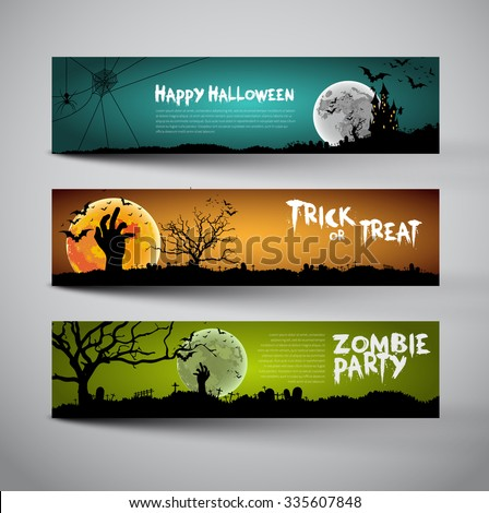 Happy Halloween banners set design, Trick or treat, Zombie party, vector illustration - stock vector
