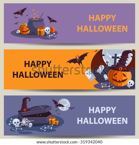 Happy halloween banners. Set of cute vector elements.Vector illustration. EPS 10 - stock vector