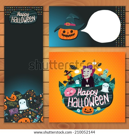 Happy Halloween brochure template. Dracula, zombie, witch, pumpkin, bat, ghost characters. - stock vector