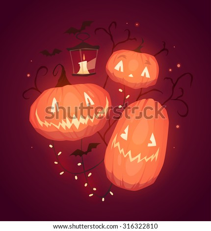Happy Halloween card, background, poster. Vector illustration. - stock vector