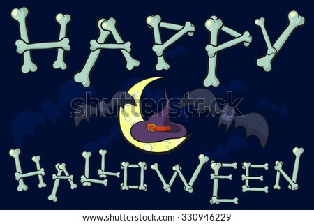 Gentil Happy Halloween Card. Hat Of Witch On The Moon Among Of Bats. Happy  Halloween