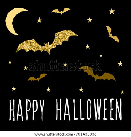 Happy Halloween Card Template. Abstract Halloween Bat And Star Pattern With  Handwritten Halloween Quote For