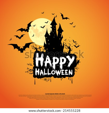 Happy Halloween Card Template, Mix of Various Spooky Creatures, Moon and Castle, Vector Illustration - stock vector