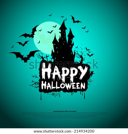Happy Halloween Card Template, Mix of Various Spooky Creatures, Moon and Castle, Vector Illustration