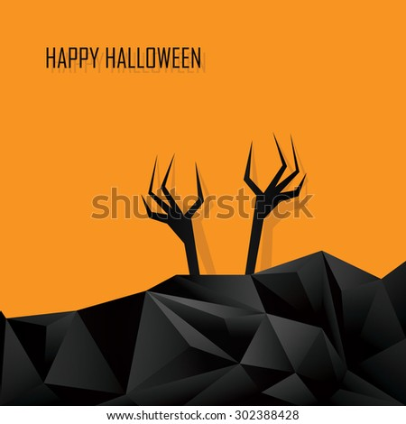 Happy halloween card template. Zombie ghost hands of the undead. 3d Low polygonal design background. Dark horror style. Eps10 vector illustration. - stock vector