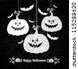 Happy Halloween card with pumpkin and bats. vector illustration - stock photo