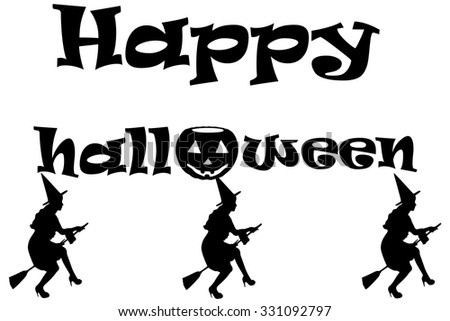 Happy Halloween card with pumpkin and witches
