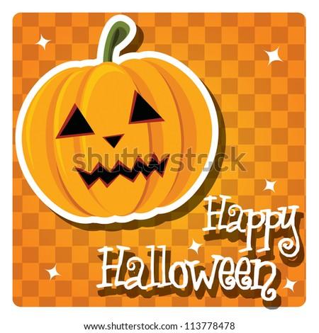 Happy Halloween card with pumpkin, vector - stock vector