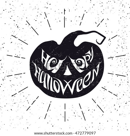 Happy Halloween card with pumpkin. Vector illustration with lettering.