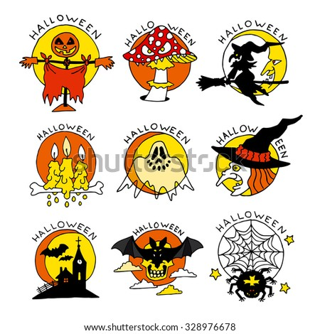 Happy Halloween cartoon flat icons. Set of bright hand made illustrations isolated on white background. Doodles for posters, stickers, calendars, games, children books, web.