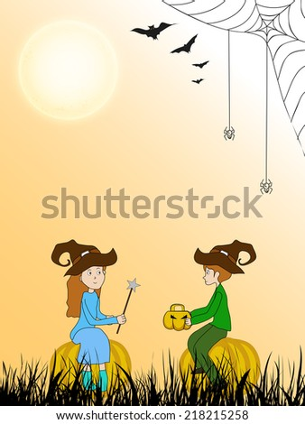 Happy Halloween celebration party background with little witch and vampire on spider web decorated background.  - stock vector