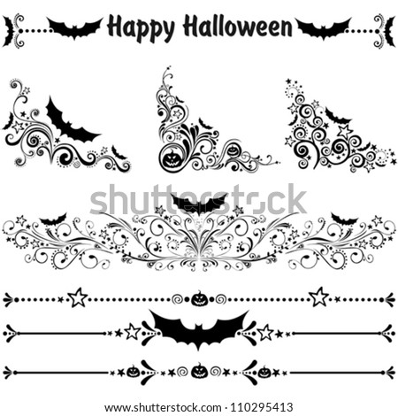 Happy Halloween! Collection of design elements isolated on White background. Vector illustration