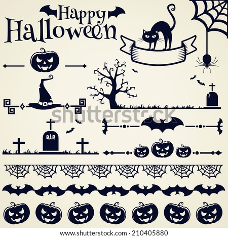 Happy Halloween! Collection of elements for design and page decoration. Vector illustration. - stock vector