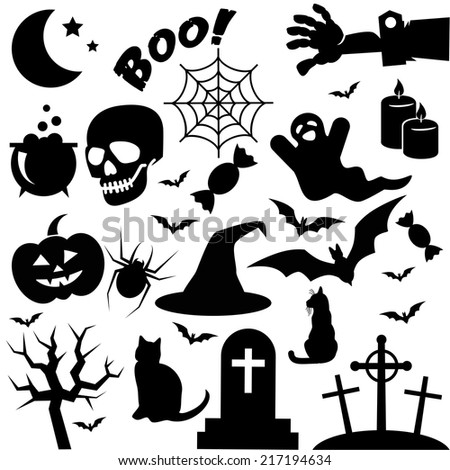 Happy halloween! - collection of seasonal icons isolated on white background. Vector art. - stock vector