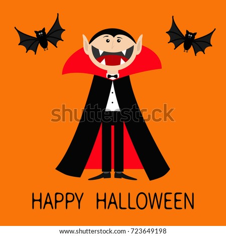 Happy Halloween. Count Dracula Wearing Black And Red Cape. Cute Cartoon  Vampire Character With