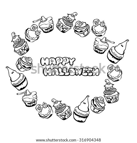 Happy Halloween. Cupcakes. Round frame - wreath. - stock vector