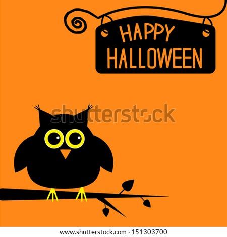 Happy Halloween  cute owl card. Vector illustration - stock vector