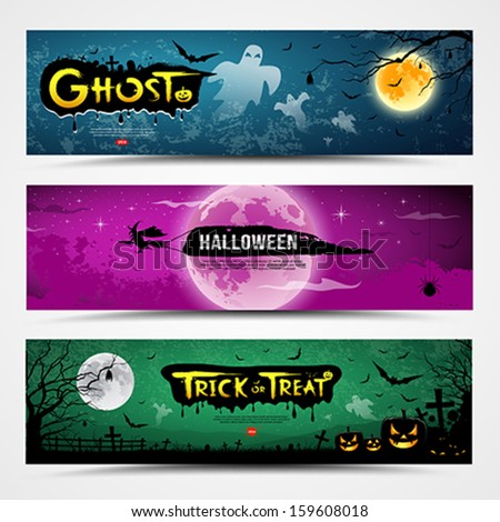 Happy Halloween day banner collections design, vector illustration - stock vector