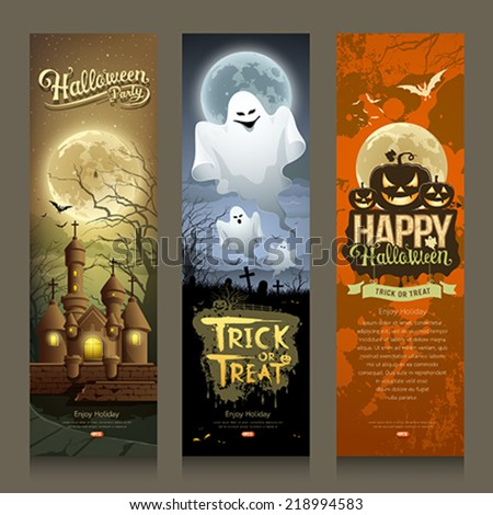 Happy Halloween day collections banner vertical design background, vector illustrations