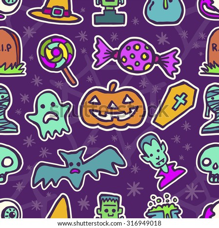 Happy Halloween day colorful Icon Set vector seamless pattern - stock vector