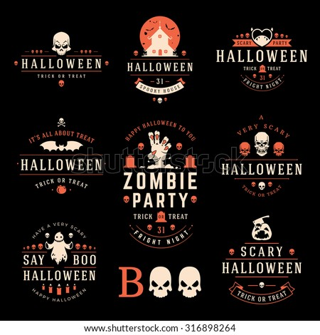 Happy Halloween day labels and badges design collection vector illustration - stock vector