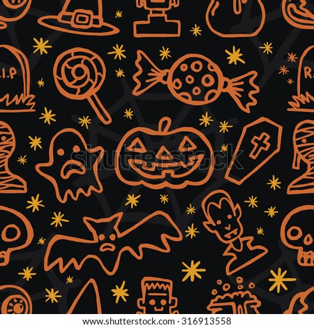 Happy Halloween day seamless pattern Icon Set vector on black background - stock vector