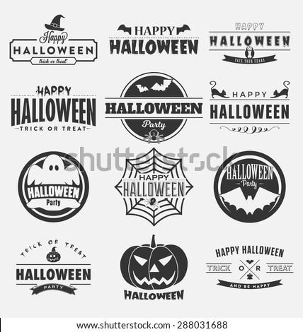 Happy Halloween Design Collection - A set of twelve dark colored vintage style Halloween Day Designs on light background - stock vector