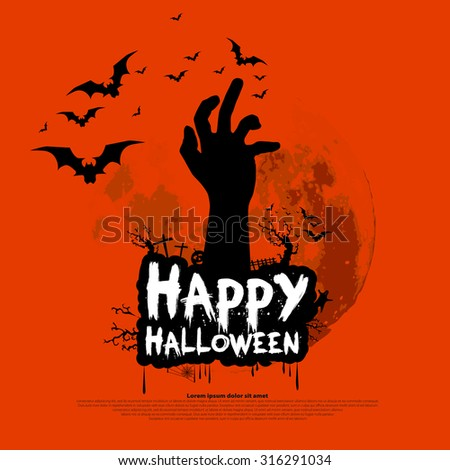 Happy Halloween design with zombie hand, bats, graves, moon, vector illustration background - stock vector