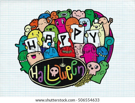 Happy Halloween doodle. Halloween words and icon background. Hand drawn, Doodle, Vector illustration