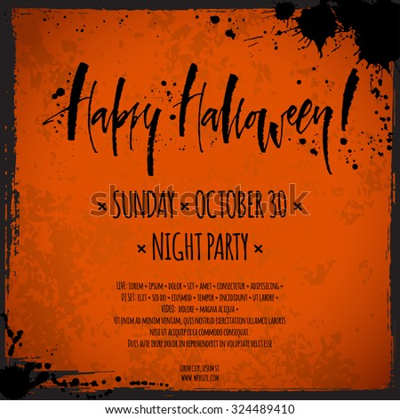Happy Halloween flyer. Hand written calligraphy, vector illustration. - stock vector