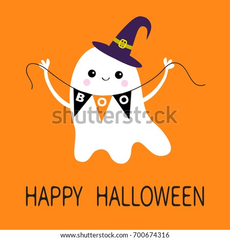 Happy Halloween. Flying Ghost Spirit Holding Bunting Flag Boo. Witch Hat.  Scary White