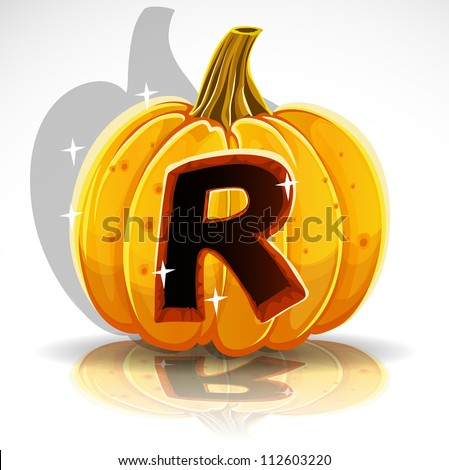 Happy Halloween font cut out pumpkin letter R - stock vector