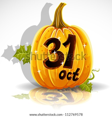 Happy Halloween font cut out pumpkin October 31 party - stock vector