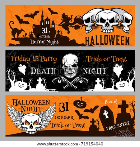 Happy Halloween Friday 13 Night Party Banner Invitation Template. Vector  Design Of Pumpkin Lantern,