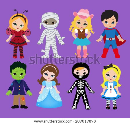 Happy Halloween. Funny little children in colorful costumes.  Vector illustration. Icon - stock vector