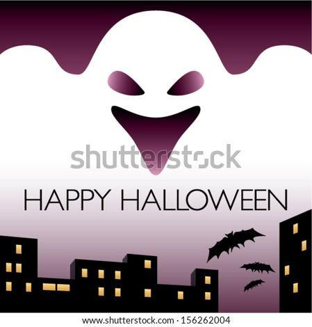 Happy Halloween. Ghost city and bats. - stock vector