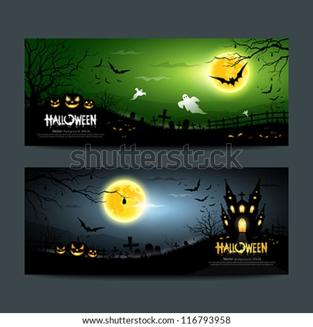 Happy Halloween ghost scary banner set background, vector illustration - stock vector