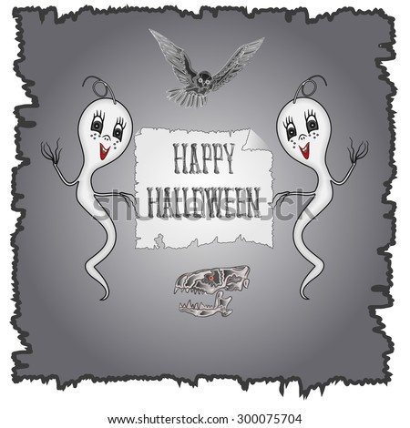 Happy Halloween ghosts and owl with skull vector illustration