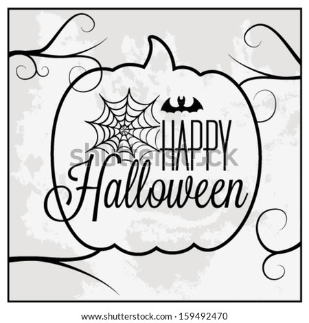 Happy Halloween Greeting Card. Vector Illustration - stock vector