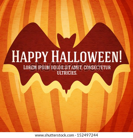 Happy halloween greeting card with bat carved in pumpkin. With happy halloween and place for your text. - stock vector