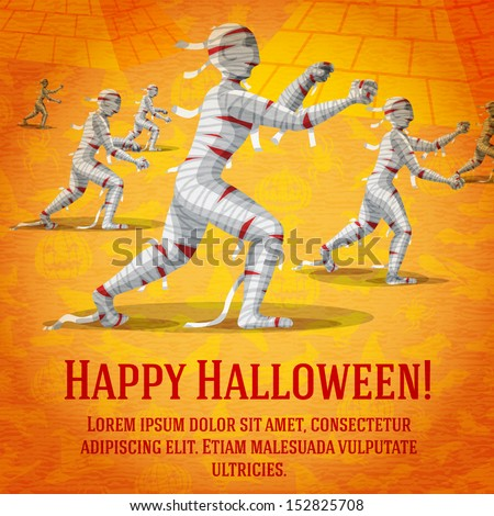 Happy halloween greeting card with horde of walking mummies fading to perspective. On the bright halloween background with bats, witches, hats, spiders, pumpkins.  - stock vector