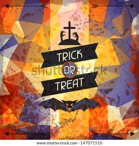 Happy Halloween grungy retro background. - stock vector