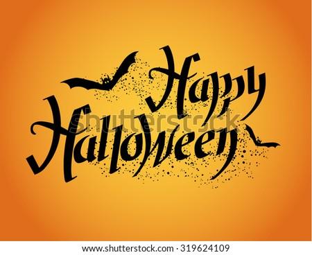 Happy Halloween Halloween Poster Hand Lettering Stock Vector ...
