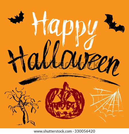 Happy Halloween hand drawn greeting card with pumpkin, bats and spiderweb - stock vector