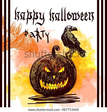 Happy Halloween. Hand-drawn vector illustration. Sketch style. Use for invitations, flayers, postcards, advertising