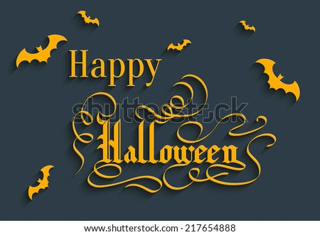 Happy Halloween Hand lettering Greeting Card. Typographical Vector Background. Handmade calligraphy. 3d Gothic Font with Shadow - stock vector