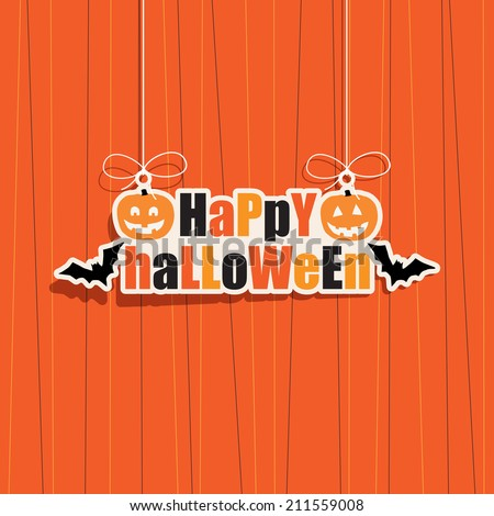 happy halloween hanging decoration, with transparencies - stock vector