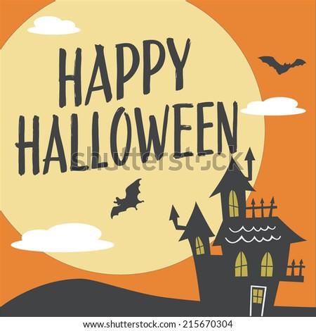 Happy Halloween Haunted House with Moon and Bats Vector Design - stock vector