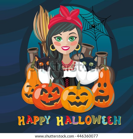 Happy halloween holiday fancy poster with pumpkins and witch named Solokha